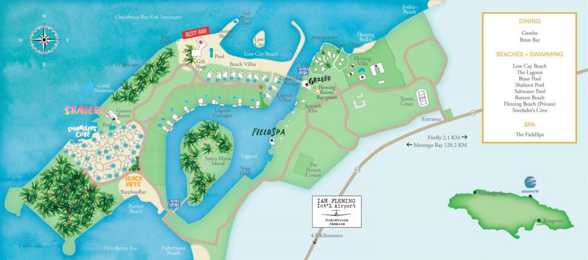 Mapa da jamaica resorts